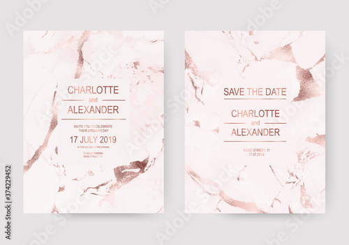 Obraz na plátně Minimalist marble wedding design invitation cards with rose gold foil texture
