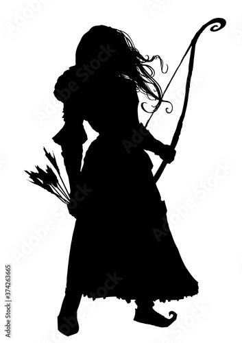 Fotografie, Obraz The silhouette of a girl archer with long hair fluttering in the wind, in one hand she has a long bow, in the other with her arms