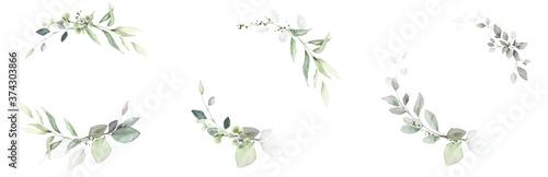 Fotografía Watercolor invitation Card design with leaves