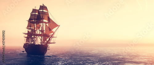 Fotografie, Obraz Pirate ship sailing on the ocean at sunset