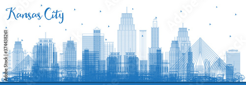 Vászonkép Outline Kansas City Missouri Skyline with Blue Buildings.