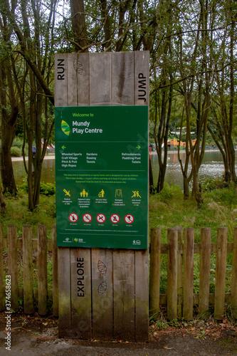 Obraz na płótnie Derby August 29, 2020: The Sign at the Mundy Play Centre, Markeaton Park, Derby,