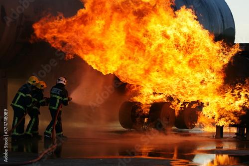 Aircraft crash, passenger jet on fire Fototapeta