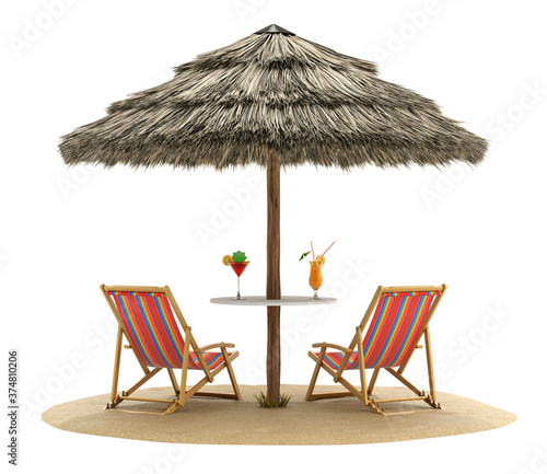 Fotografija Beach chairs and umbrella with cocktail drinks - 3D illustration