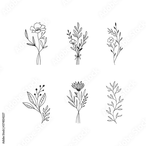 Valokuva Set of hand drawn bouquets of flowers