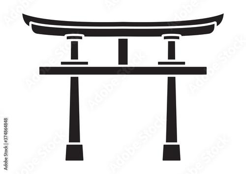 Fototapeta Shinto shrine gate or torii flat vector icon for apps or websites