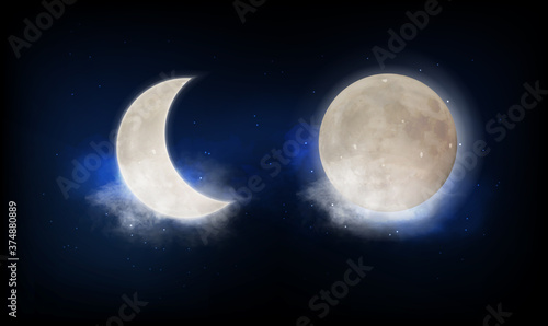 Fényképezés Full moon and new moon crescent over a patch of cloudy twilight blue sky lit by