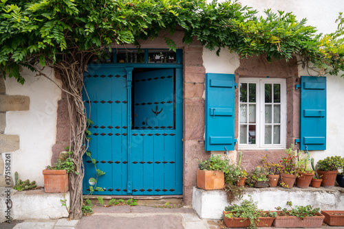 Canvas Print Old beautiful house with blue door and window and green vegetation around in Ain