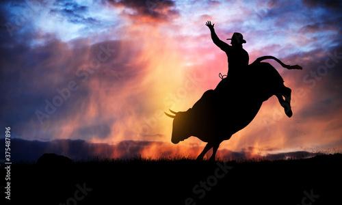 bull rider silhouette at sunset
