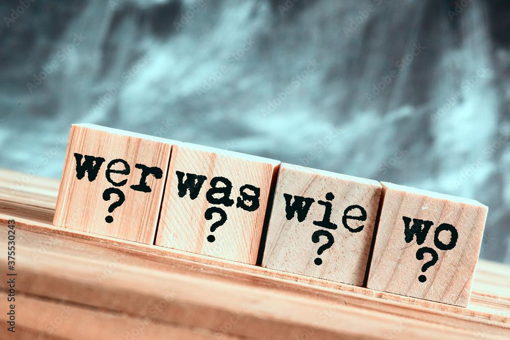 Fragen Wer Was Wie Wo - obrazy, fototapety, plakaty