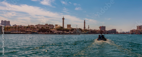 A view following a water taxi on the Dubai Creek in the UAE in springtime