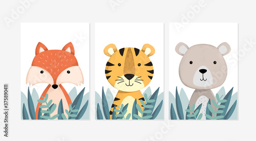 Cute posters with a little fox, tiger, and bear vector prints for baby room, baby shower, greeting card, kids and baby t-shirts, and wear. Hand drawn nursery
