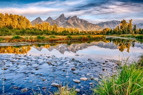 Photo grand teton national park in wyoming early morning