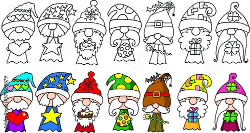 Photo vector cartoon seven dwarfs picture