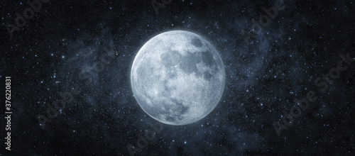 Fotografiet Panoramic view of the moon out in the space