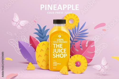 Photo Juice ad in 3d paper cut design