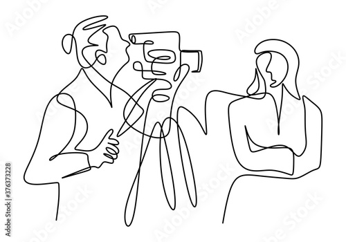 Continuous one line drawing of a professional woman news anchor gives a news, live training on-line, commercial ad concept isolated on white background Fototapete