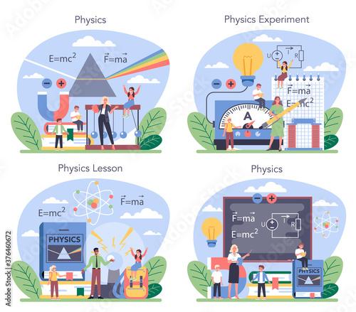 Photo Physics school subject concept set. Scientist explore electricity