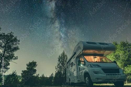 Fotografie, Tablou campervan caravan vehicle for van life holiday on mobile home camper mobile moto