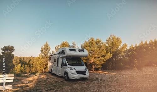 Tablou Canvas campervan caravan vehicle for van life holiday on mobile home camper mobile moto