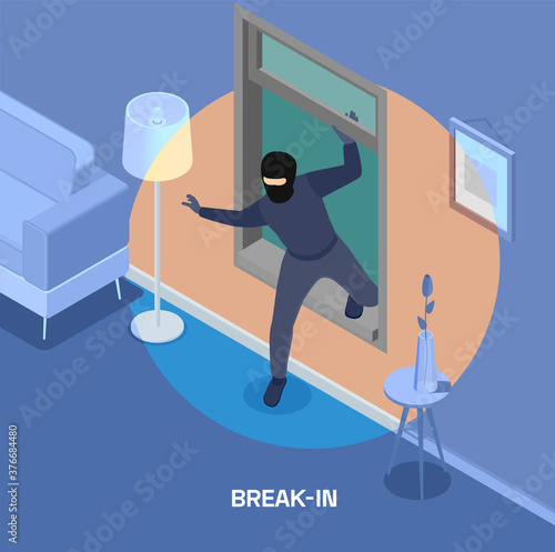 Fotografiet Robbery Isometric Composition
