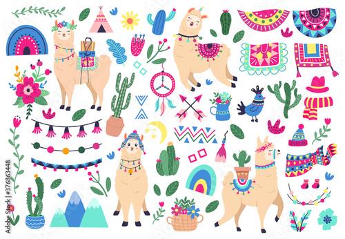 Fototapeta premium Meksykańskie słodkie lamy. Zwierzęta dzikie zwierzęta lamy i alpaki peruwiańskiej, zabawne postacie lamy i symbole etniczne Peru wektor zestaw ikon ilustracji. Sukulenty z kwiatami, górami i tęczą