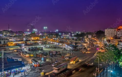 Canvas Print Aerial image of Bangalore bus terminus in the evening with nice sky