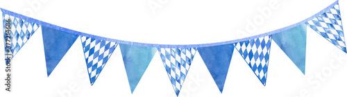 Canvastavla Watercolor bavarian traditional flag illustration