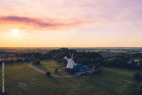 Fotografie, Obraz Historic old Windmill in Essex drone view