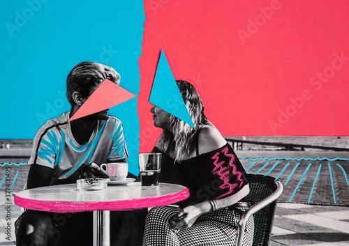 Wallpaper Mural Couple having drinks collage