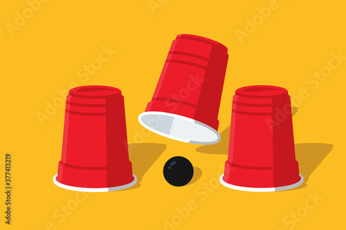Tableau sur Toile Cup And Ball Shell Game Illustration