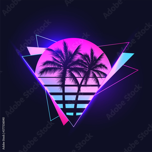 Stampa su Tela Retrowave or synthwave or vaporwave aesthetic illustration of vintage 80's gradient colored sunset with palm trees silhouettes on abstract triangle shapes background