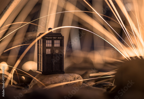 Photo Police Box Tardis Surrounded by Sparks