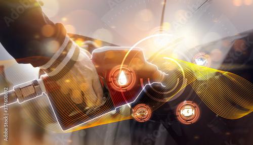 Tablou Canvas Futuristic oil fueling concept modern icon, refilling refueling car vehicle tran