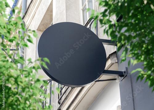 Valokuva Circular store brand sign board mockup
