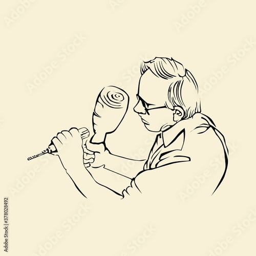 Slika na platnu Artisan Crafting Outline Drawing Illustration of a Man working on Wood Craft