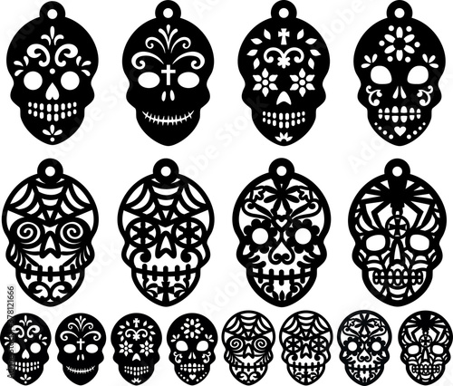 Fotografia Sugar Skull Earrings Candy Skull  Clipart Halloween Jewelry Coulomb the Day of t