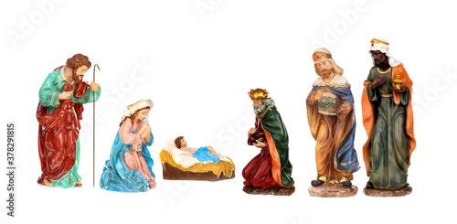 Fotografia, Obraz Traditional Christmas nativity scene with Mary and Joseph and baby Jesus