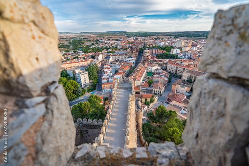 Almansa castle and city top view in Albacete