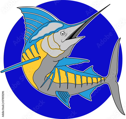 Obraz na płótnie vector illustration of a blue marlin logo poster design