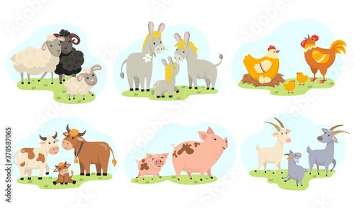 Canvas Print Cute farm animals family flat illustration set
