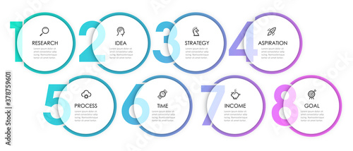 Canvas-taulu Vector Infographic label design with 8 options or steps