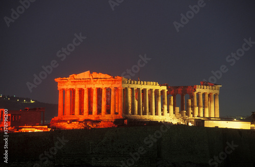 Leinwand Poster Old ruin colonnades at night, Parthenon, Athens, Greece