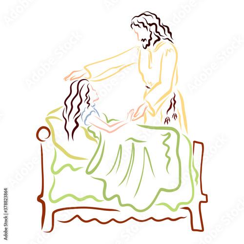 Fototapeta Jesus raised the dead daughter of Jairus