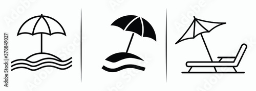 Tablou Canvas Set of beach umbrella and chair icons isolated on white background, sunbed and umbrella, sea, icon for vacationers, vector