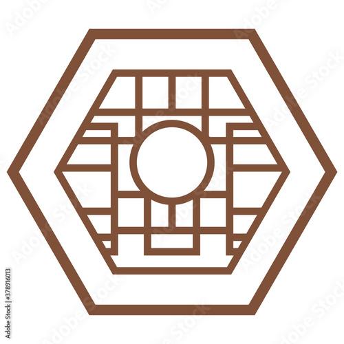 Photo Set of Korean traditional window isolated on white background