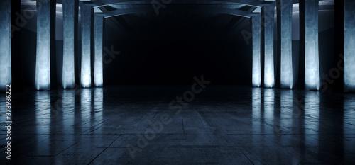 Fotografia Industrial Large Dark Hangar Garage Spotlights Blue Glowing Empty Warehouse Tunn