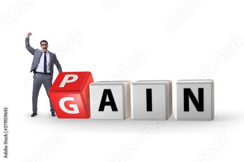 Canvas Print No pain no gain concept with businessman