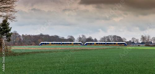 Tablou Canvas Train traveling through countryside in Lower Rhine Region