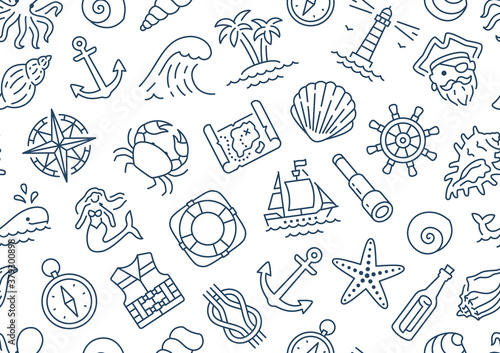 Fényképezés Marine seamless pattern with line icons